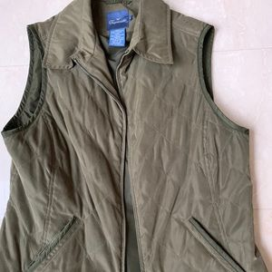 Women's Faconnable collared quilted vest.